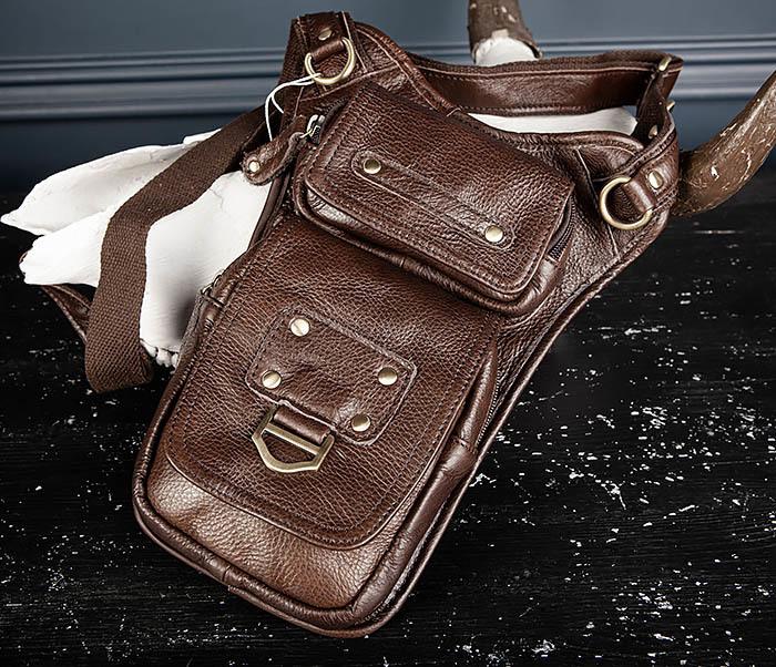 BAG514-2 Набедренная сумка из коричневой натуральной кожи фото 03