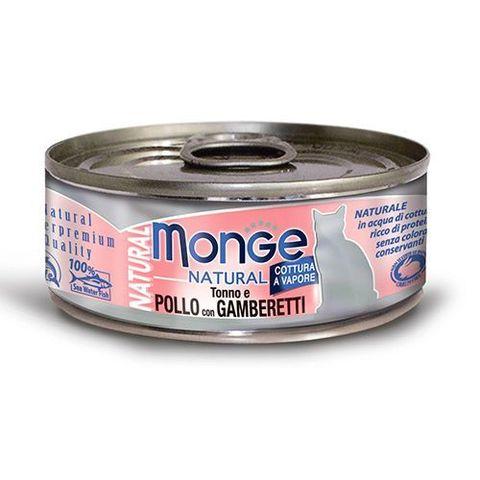 Monge Cat Natural консервы для кошек тихоокеанский тунец с курицей и креветками 80г