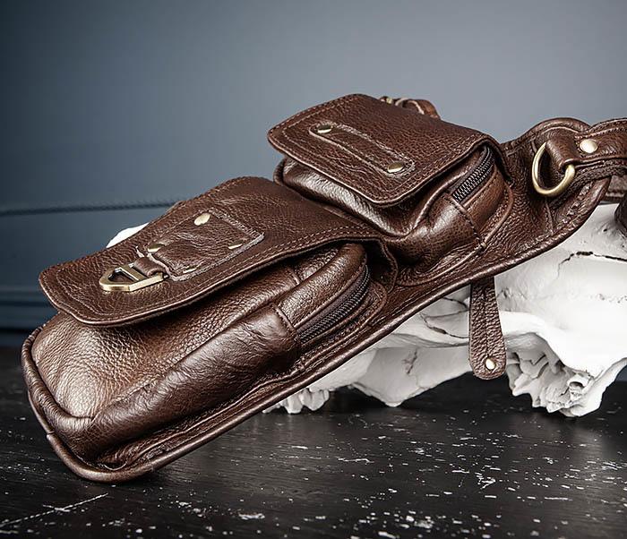 BAG514-2 Набедренная сумка из коричневой натуральной кожи фото 04