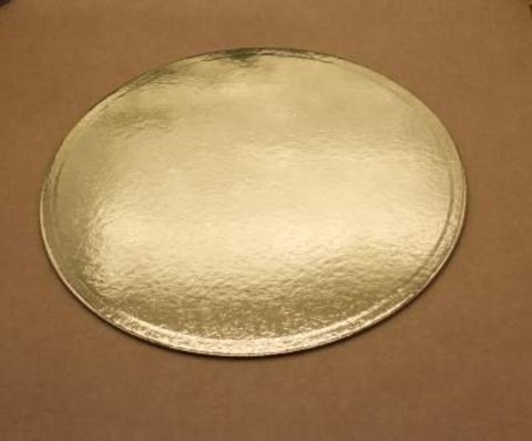 Подложка для торта 30см, толщ. 0.8 мм, золотая, круглая