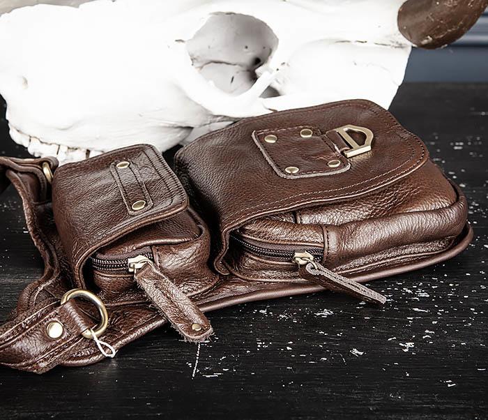 BAG514-2 Набедренная сумка из коричневой натуральной кожи фото 05