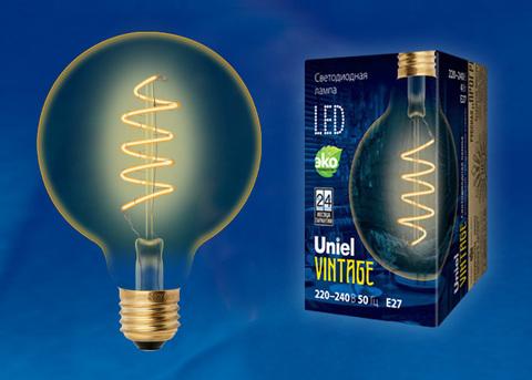 LED-G95-4W/GOLDEN/E27/CW GLV21GO Лампа светодиодная Vintage. Форма «шар», золотистая колба. Cпиральная нить. Картон. ТМ Uniel