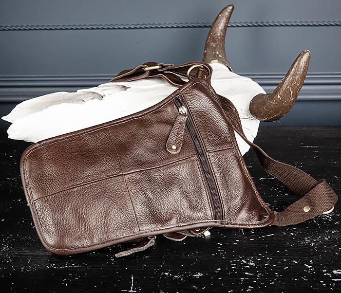 BAG514-2 Набедренная сумка из коричневой натуральной кожи фото 07