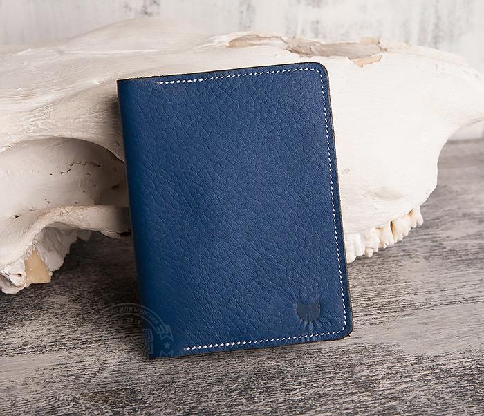 WB110-3 Кошелек синего цвета для купюр, карт, паспорта, окошко. «Boroda Design» фото 02