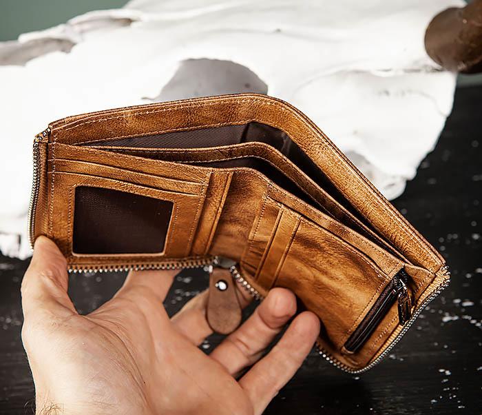 WL331-2 Мужское портмоне из натуральной коричневой кожи фото 06