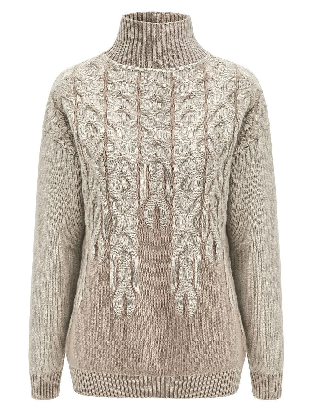 Женский свитер бежевого цвета из 100% кашемира - фото 1