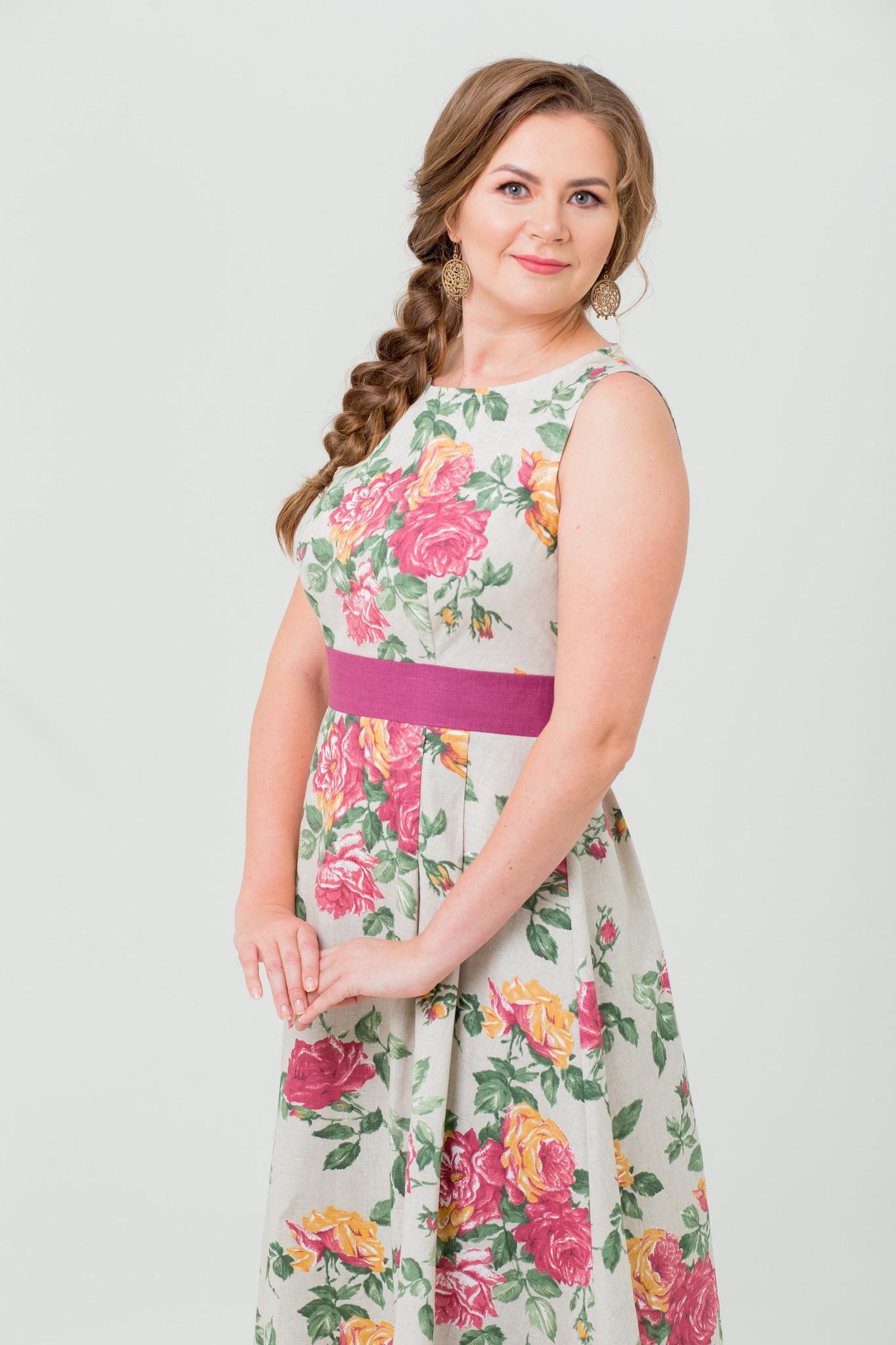 Платье льняное длинное Вальс цветов