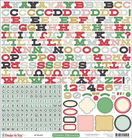 Лист стикеров алфавит 30*30см Under the Tree by October Afternoon