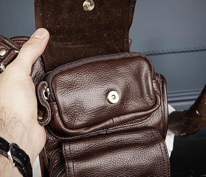 BAG514-2 Набедренная сумка из коричневой натуральной кожи фото 09