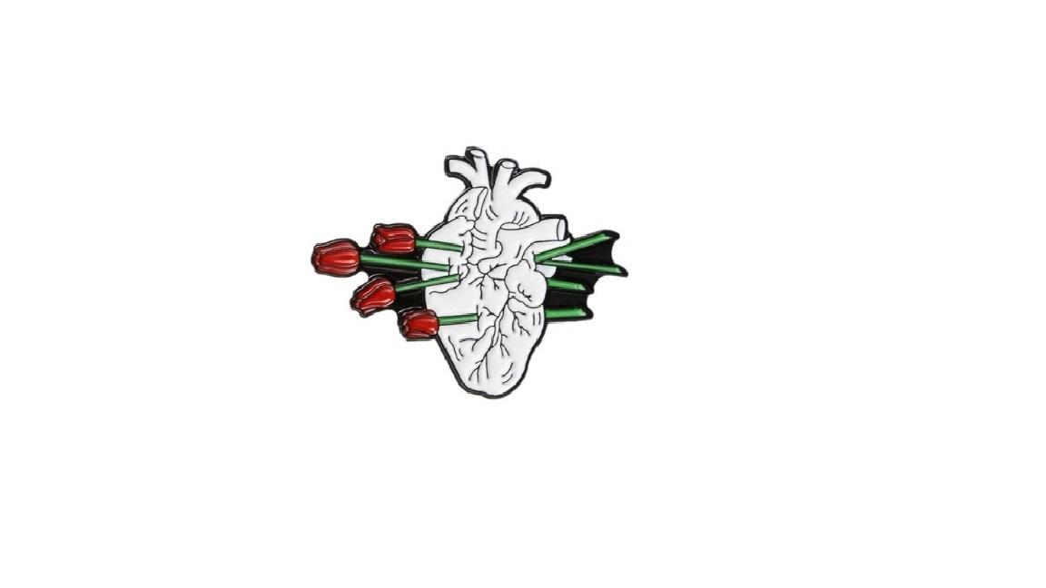 Брошь сердце и тюльпаны