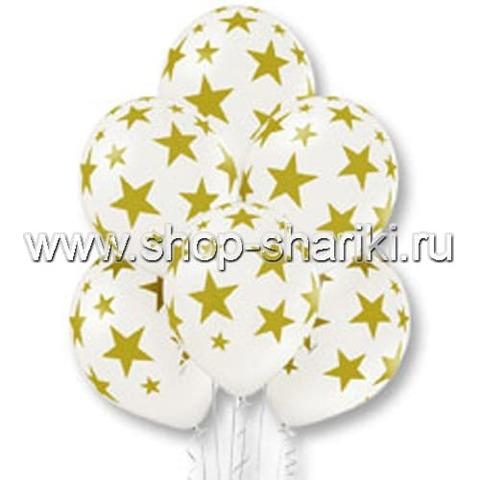 Белые шары с золотыми звездами