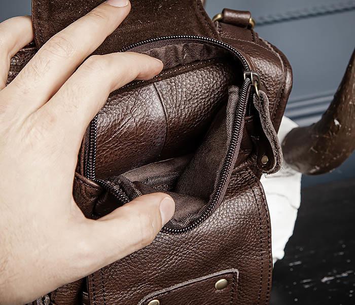 BAG514-2 Набедренная сумка из коричневой натуральной кожи фото 10