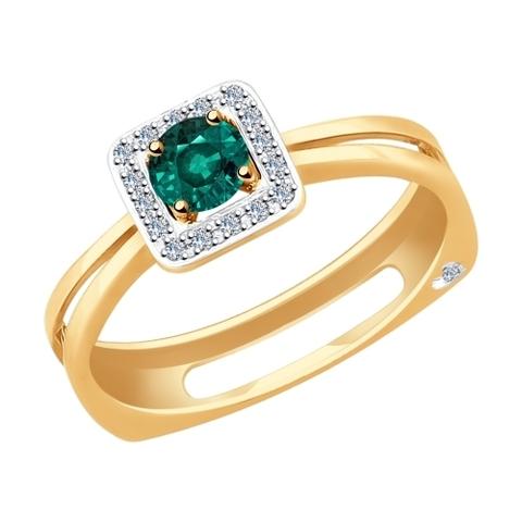 3010553 - Кольцо из золота с бриллиантами и изумрудом