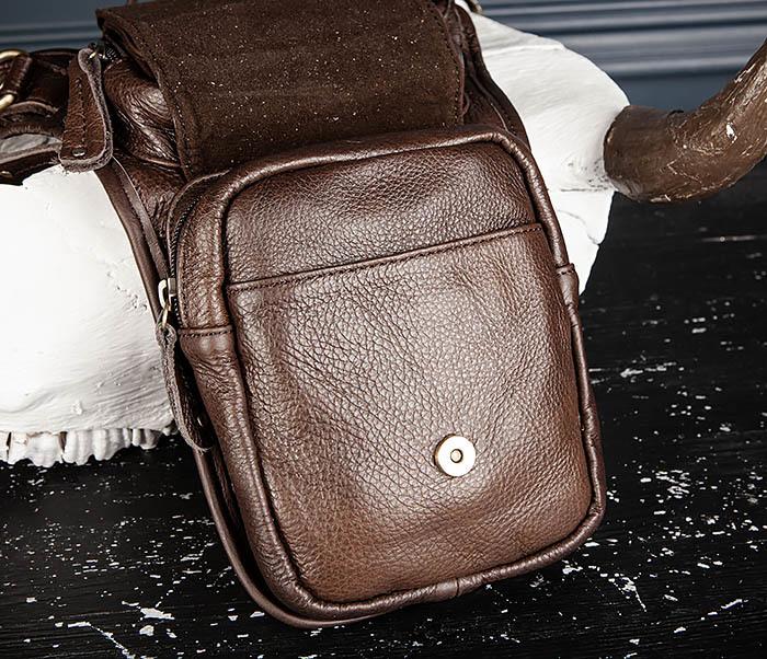 BAG514-2 Набедренная сумка из коричневой натуральной кожи фото 11