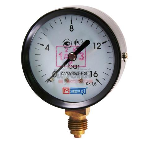 Манометр ДМ 02-100-1-G, диапазон 0...16 бар, диаметр 100, радиальный G 1/2, макс тем-ра +160 С