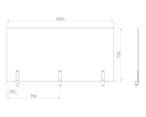 Настольный экран на струбц. Ш.1500мм В.600/750 мм