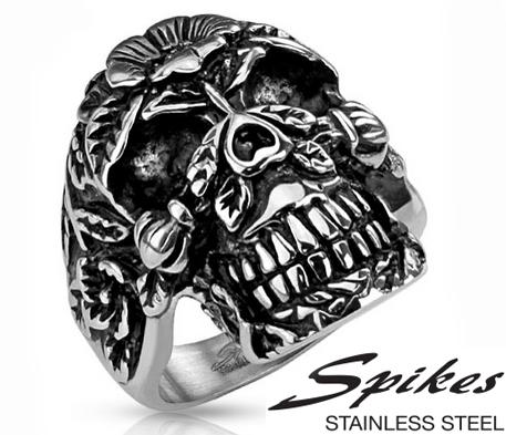 R-H6158 Крупное мужское кольцо перстень с черепом из стали, «Spikes»