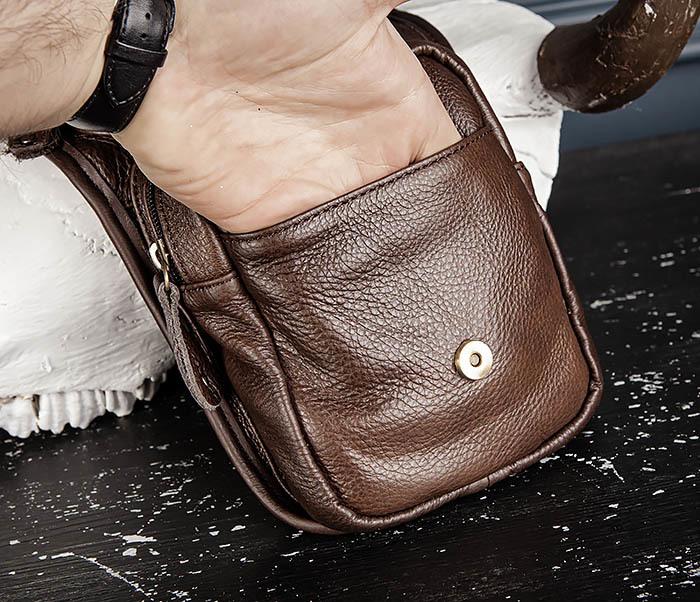 BAG514-2 Набедренная сумка из коричневой натуральной кожи фото 12