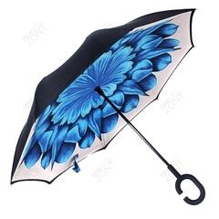 Зонт-наоборот синий цветок на белом фоне, механический