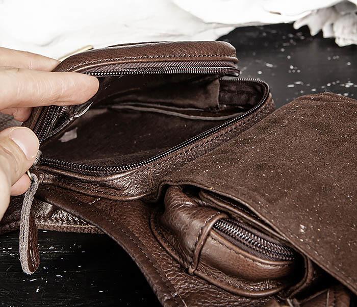 BAG514-2 Набедренная сумка из коричневой натуральной кожи фото 13
