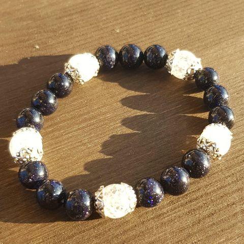 Браслет из натуральных камней: Сахарный кварц и Синий авантюрин №3