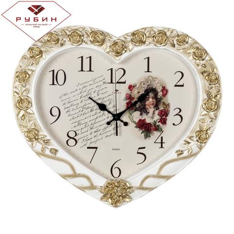 4134-002 (5) Часы настенные в форме сердца 41х35см, белый с золотом