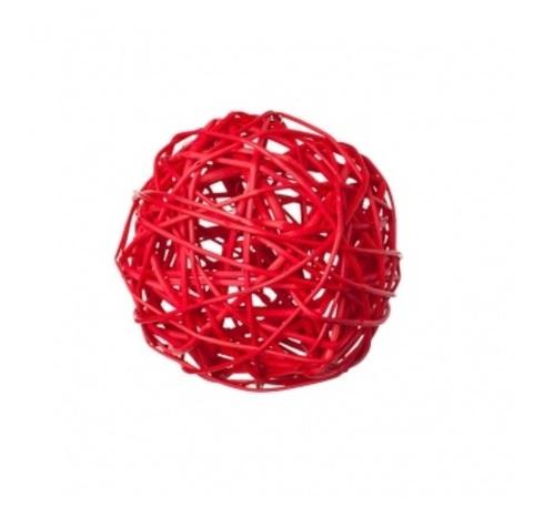 Плетеные шары из ротанга (набор:6 шт., d10см, цвет: красный)