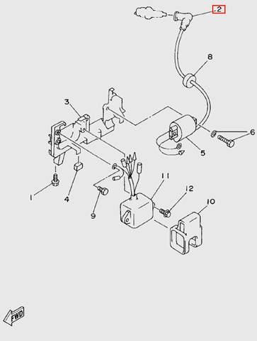 Колпачек высоковольтного провода  для лодочного мотора T5 Sea-PRO (6-2)