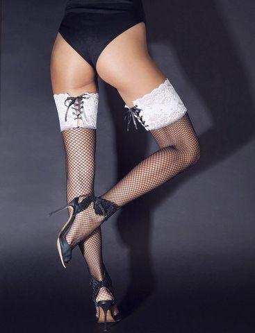Черные чулки в сетку с белыми манжетками на шнуровке