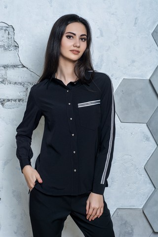 Джен. Рубашка молодежная с лампасом. Черный