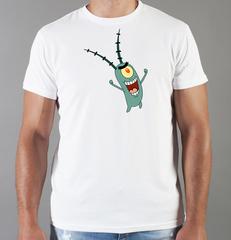Футболка с принтом мультфильма Губка Боб Квадратные Штаны/ Спанч Боб (SpongeBob SquarePants) белая 0015