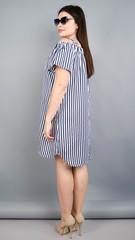 Клариса. Красивое платье-рубашка плюс сайз. Синяя полоска.