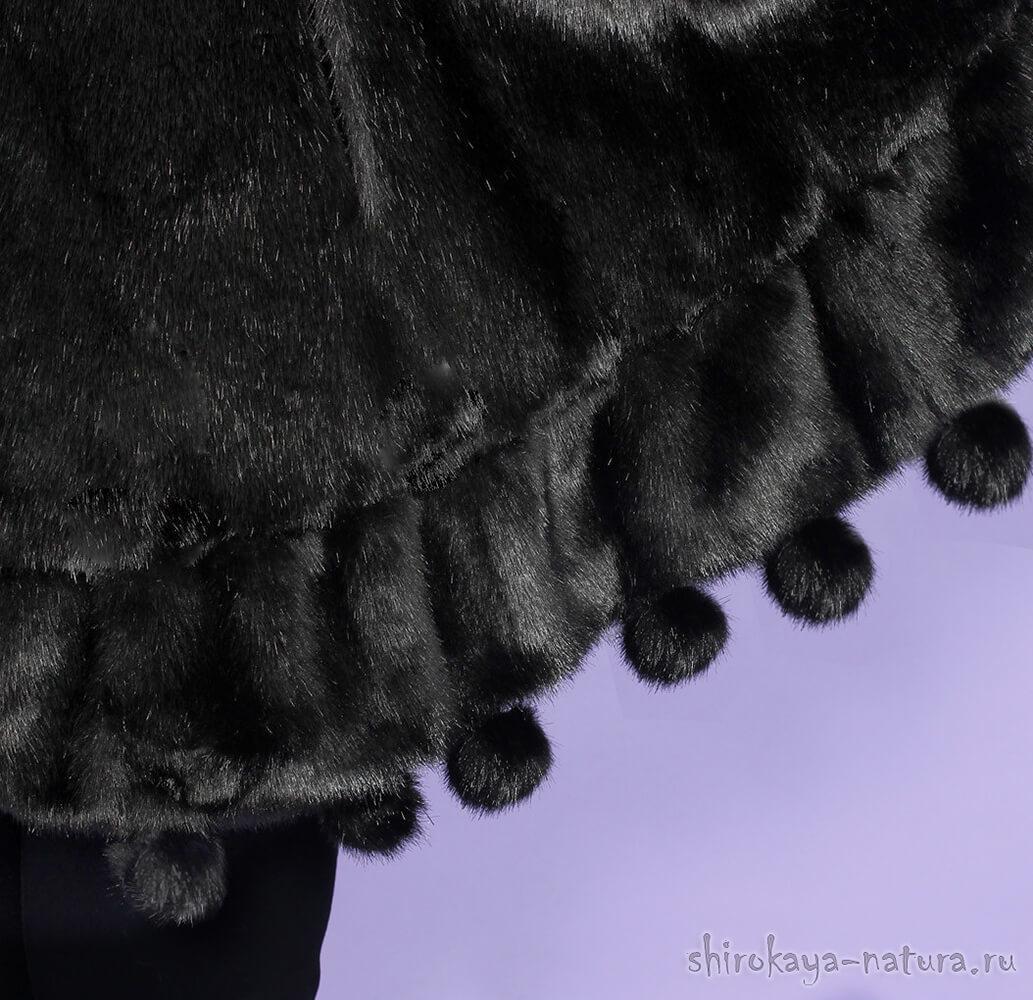 Зимнее пончо Метелица чёрное