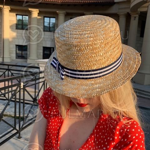 Канотье шляпа женская соломенная с узкими полями