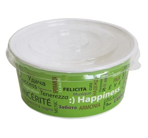 Крышка пластиковая d=150мм для салатника бумажного 750 мл. Прозрачная плоская