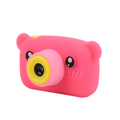 Фотоаппарат детский SmileZoom Мишка 20 Мп / Розовый + сбоку