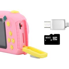 Фотоаппарат детский SmileZoom Мишка 20 Мп / Розовый + порты и кнопки