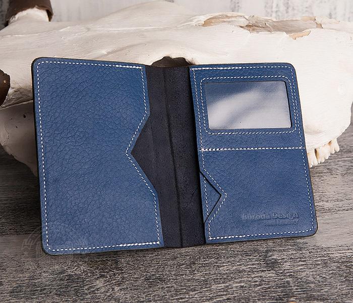 WB110-3 Кошелек синего цвета для купюр, карт, паспорта, окошко. «Boroda Design» фото 04
