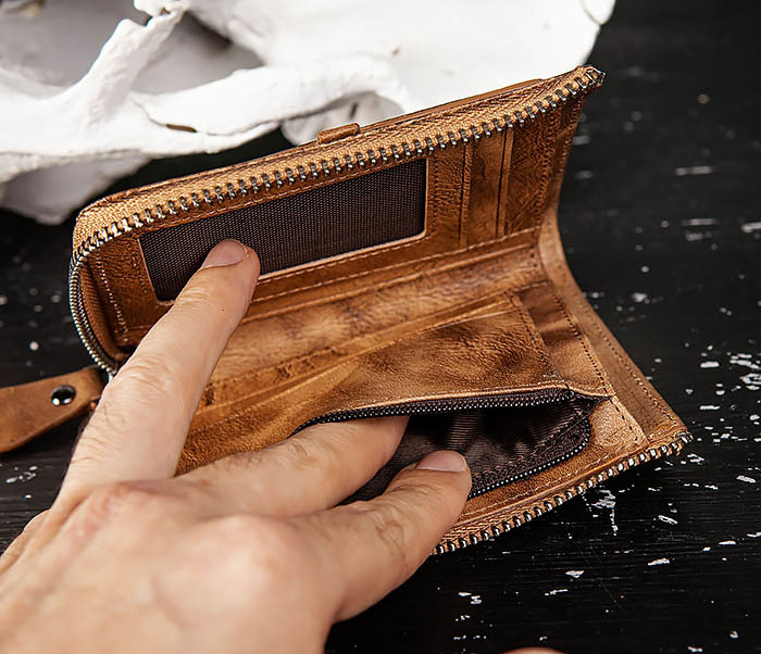 WL331-2 Мужское портмоне из натуральной коричневой кожи фото 08