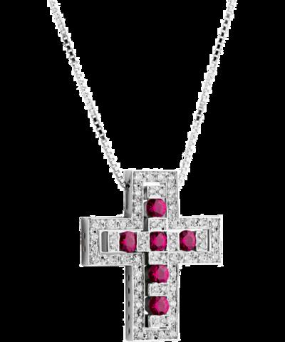 Двойной крест из серебра с рубиновыми цирконами  DOMIANI