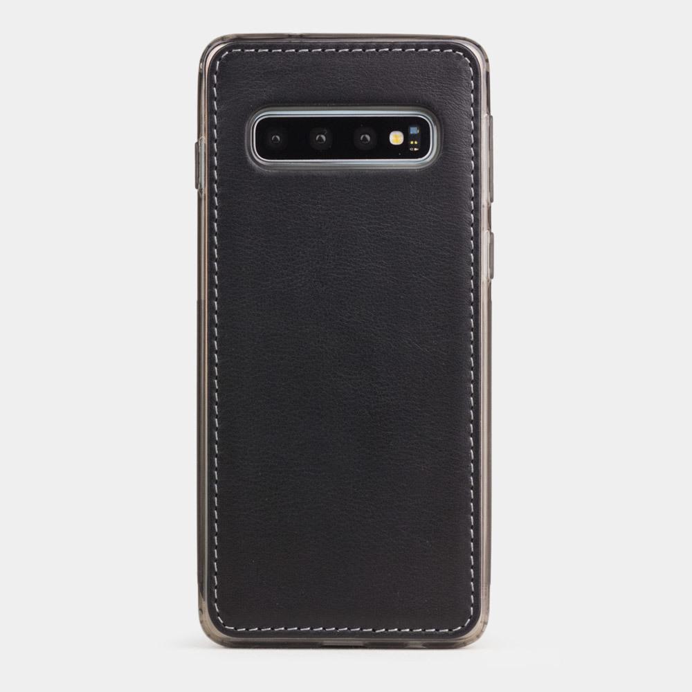 Чехол-накладка для Samsung Galaxy S10 из натуральной кожи теленка, черного цвета