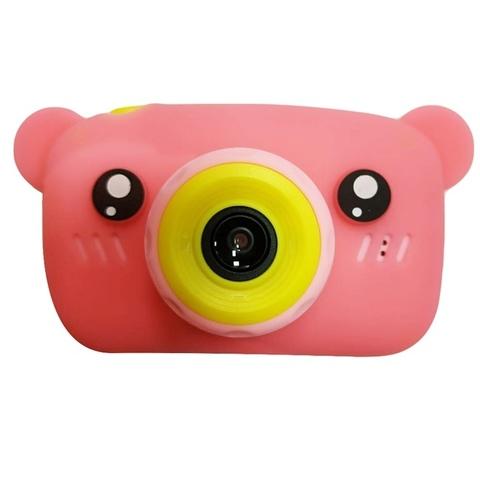 Фотоаппарат детский SmileZoom Мишка с селфи-камерой / Розовый