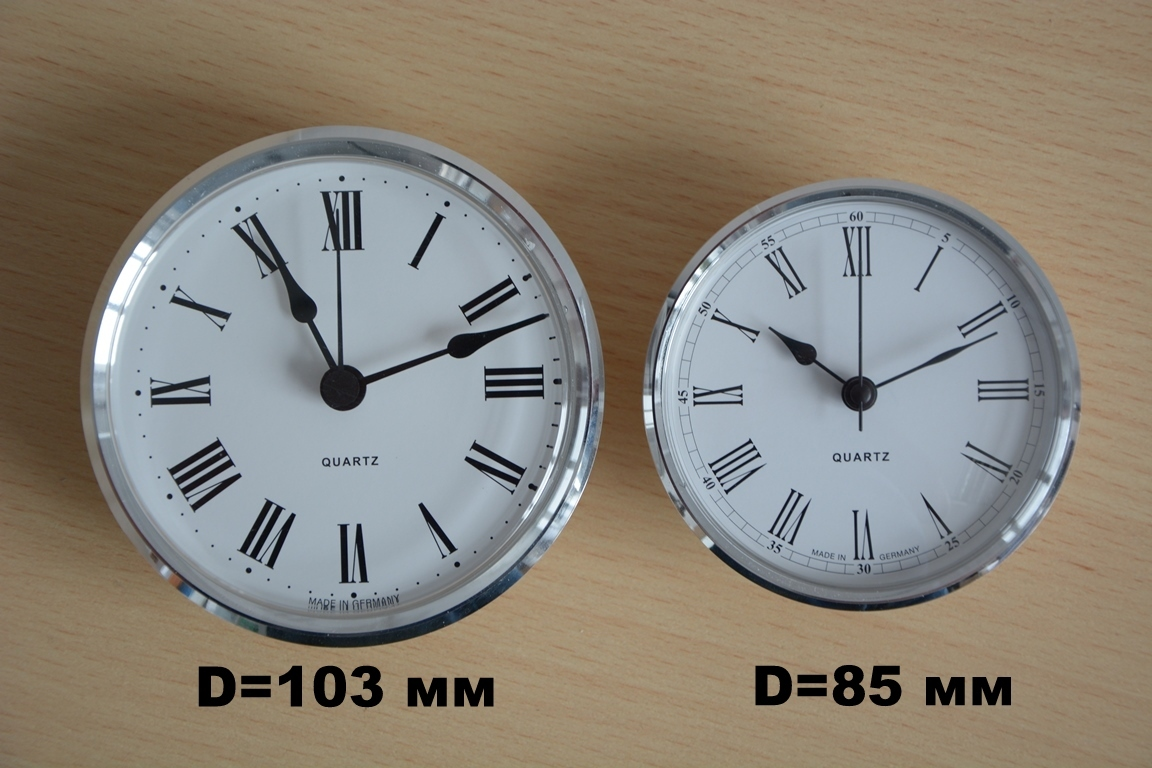Варианты германского циферблата часов диаметром 85 мм и 103 мм вставляются в один и тот же корпус из итальянской кожи Cuoietto.