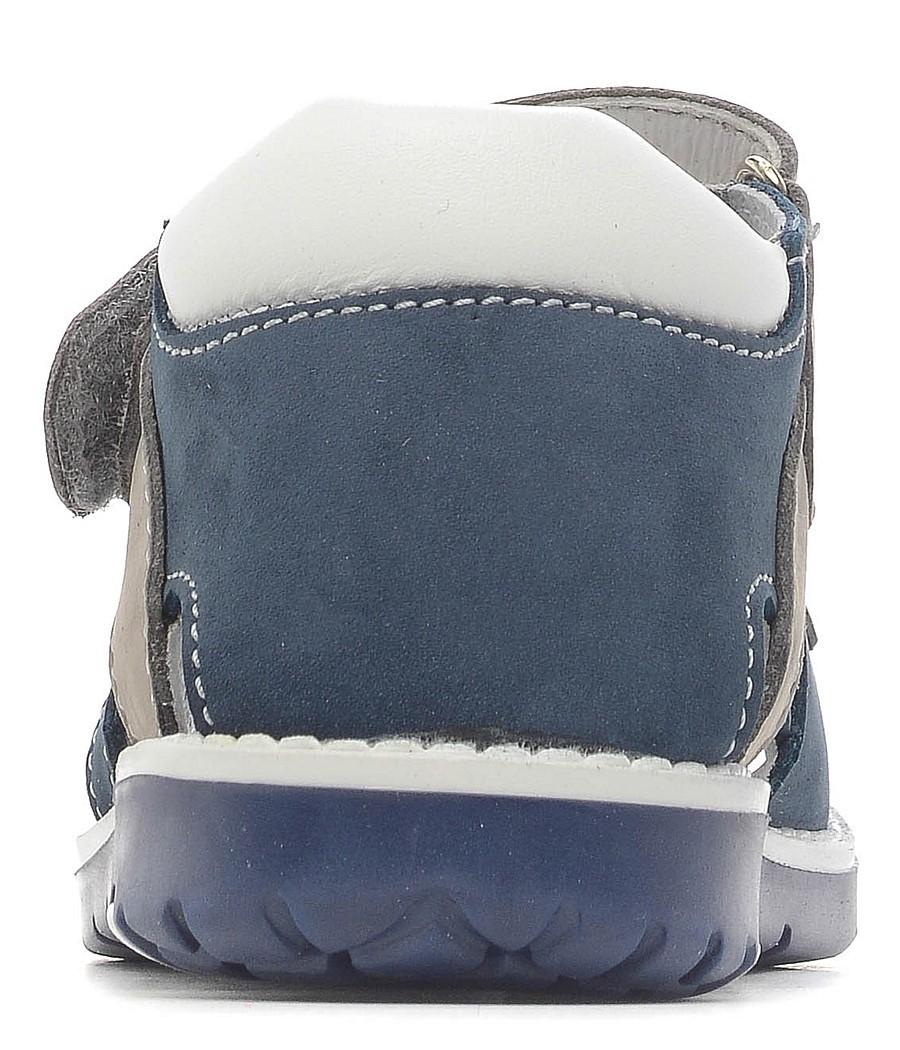 Детские сандалии Котофей 422050-21 из натуральной кожи, для мальчика, синий-серый-белый