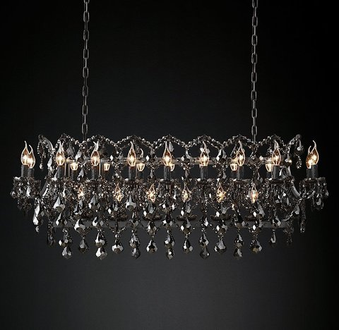 Подвесной светильник копия 19th C. Rococo Iron & Smoke Crystal Rectangular Chandelier 52