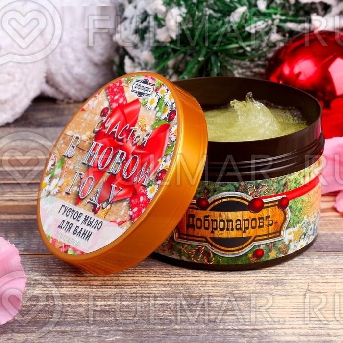 Густое мыло для бани новогоднее в баночке, аромат: ромашка, 450 г фото