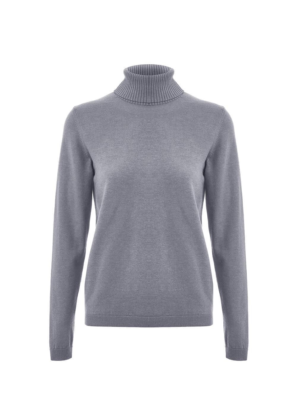 Женский свитер серого цвета из шерсти и шелка - фото 1