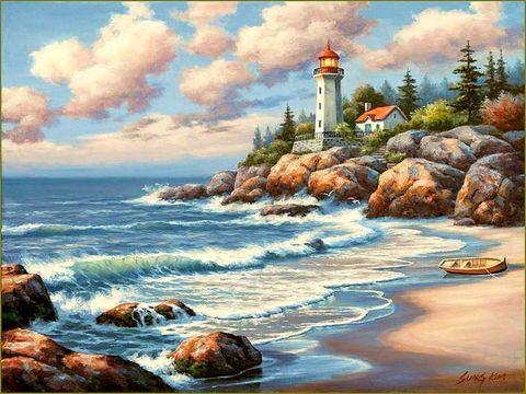 Картина раскраска по номерам 50x65 Лодка на пустом берегу