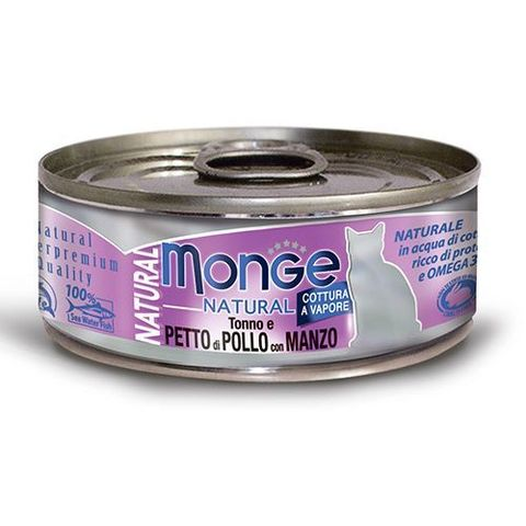 Monge Cat Natural консервы для кошек тихоокеанский тунец с курицей и говядиной 80г