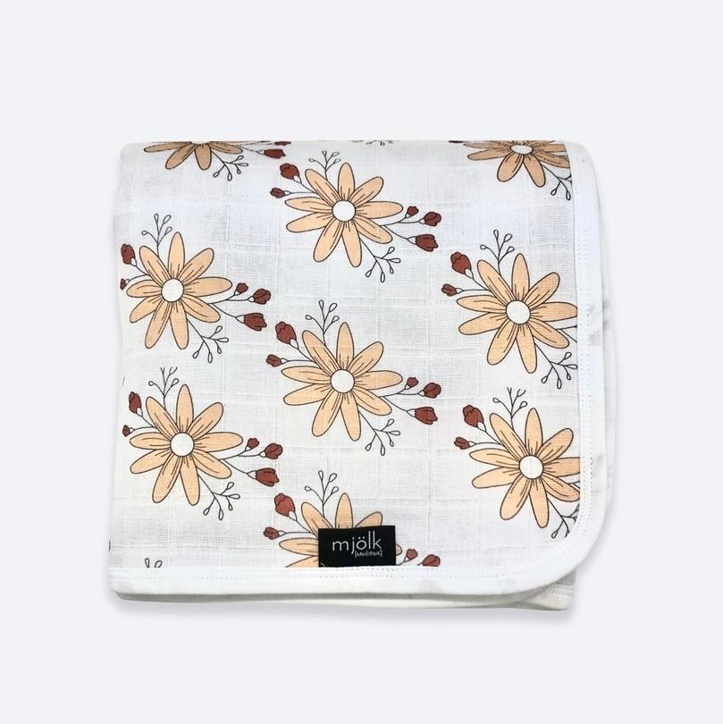 Муслиновое утеплённое одеяло Mjölk Цветы